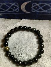 Jet, black tourmaline obsidian crystal healing bracelet