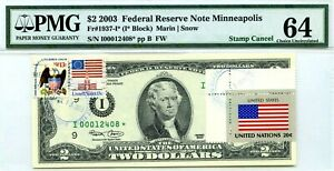 $2 DOLLARS 2003 STAR NOTE FLAG OF UN FROM USA LUCKY MONEY VALUE $5000