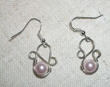 Pale Pink 'pearl' bead in sterling silver wire hand made pierced earrings #252