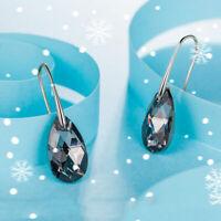 Betsey Johnson AB Crystal Rhinestone Flower Drop Dangle Earrings