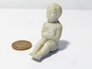 Antique White Bisque BABY Sat Position Arms Folded DOLLS HOUSE 4cm
