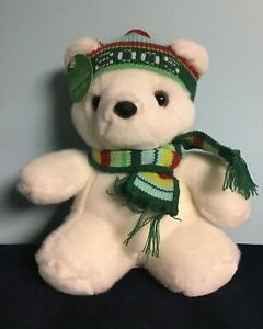Marshall Fields Santa Claus Stuffed White Bear 2005 with Tags Hat Scarf