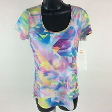 NWT Lucy Workout Tee Shirt Small S Short Sleeve Multi Color Athletic Shirt