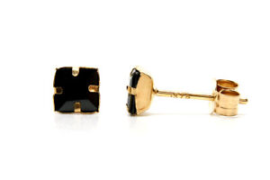 9ct Gold Black CZ Studs 4mm Square earrings Gift Boxed Made in UK Birthday Gift
