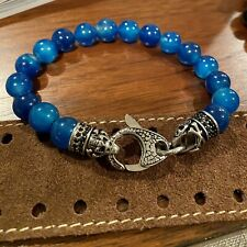 NWOT Mens Genuine Blackjack Blue Agate Black CZ Stainless Steel Beaded Bracelet