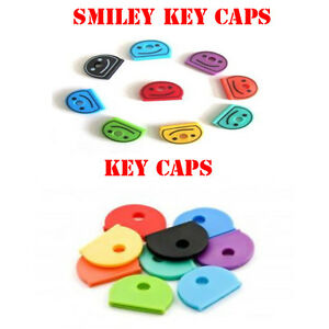 Coloured KEY TOP COVERS Head Caps Tags ID Markers MIXED TOPPERS Assorted Smiley