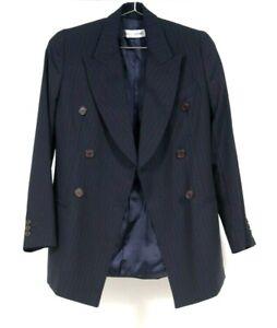 VTG Dolce & Gabbana Womens Double Breasted Wool Navy Pinstriped Blazer Jacket 40