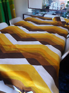 Vintage 1970s Set of 2 German Synthetic Modernist Curtain Panels
