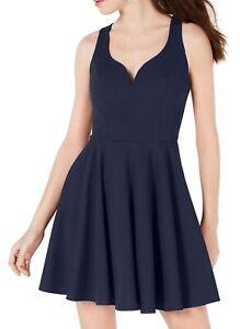 B. Darlin A-Line Dress Navy Blue Size 7 /8 Junior V-Neck Open-Back $59 060