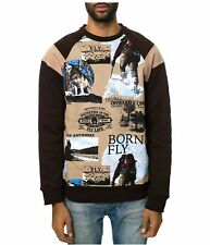 Born Fly Mens The Collateral Crewneck Sweatshirt, Brown, X-Large
