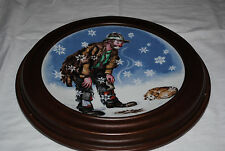"Emmett Kelly Jr Winter Plate 8.5"" With Wood Frame - Limited Edition"