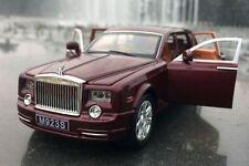 1:24 Rolls-Royce Phantom Diecast Sound Light Pullback Model Toy Car Wine Red