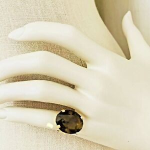 14K Yellow Gold Oval Solitaire Large Smoky Quartz Gemstone Ring 6.5g Size 5 1/4