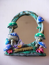 Beautiful fairy garden vanity mirror - toadstools and butterfly
