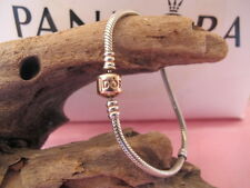 Genuine Pandora Silver ROSE GOLD CLASP BRACELET 590702 ALE 17 cms