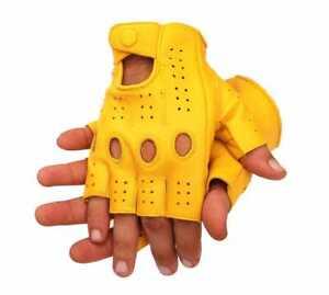 Driving Gloves Half Finger ! Finger Less Knuckle Holes For Men Genuine Leather