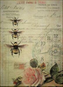 Rice Paper Decoupage Scrapbook Craft Sheet Vintage Bill Bee Rose 676