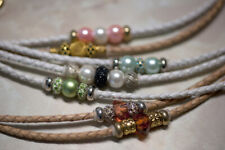 Dog Show Lead - Braided, 4mm Leather with Beads and a Trigger Clip