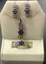 Multi Color Sapphire Set-14kt White Gold