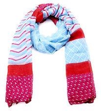 ASCA91669 Blue/Pink Zig Zag Print Long scarf