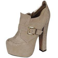 Women's Hidden Platform Chunky Heel High Heel Booties Gray size 6.5