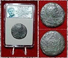 Ancient Roman Empire Coin Of Caracalla Apollo Statue In Temple On Reverse