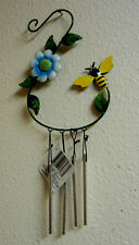 New listing Honeybee Flower Yard Art Wind Chime Garden Decoration Wall Hanging Or By Hook