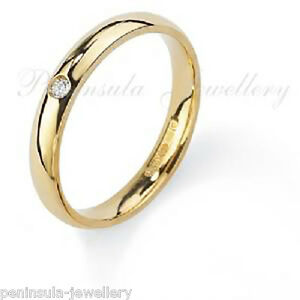 18ct Gold 3mm Wedding Ring Diamond set Court Band, size L, Hallmarked