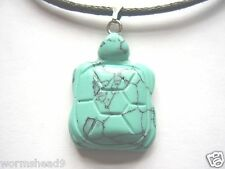 Faux turquoise turtle pendant black waxed cotton cord surf style necklace