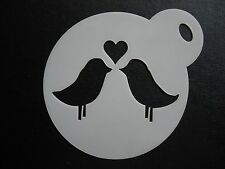 Laser cut small love birds design cake, cookie, craft & face painting stencil