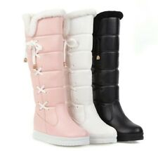 Winter Womens Girls Snow Boots Knee High Riding Boots Fur Lined Warm Shoes Wedge