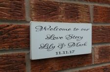 Welcome To Our Love Story Wedding Engagement Valentine Shabby Vintage Chic Gift