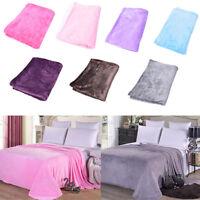 Super Soft Solid Warm Micro Plush Fleece Blanket Throw Rug Sofa Bedding GIFT Fad