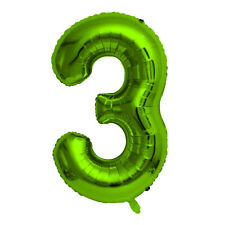 """Green Foil Party Balloon - Large 80cm (32"""") - Birthday Age - Number 3"""