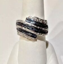 1/2 Ct. BLUE and WHITE BYPASS DIAMOND RING, PLATINUM .925 SS SIZE 9