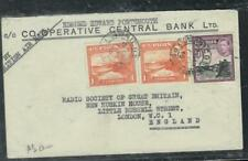 CYPRUS COVER (P0807B) 1945 KGVI 1 PIX2+9 PI BANK A/M COVER TO ENGLAND