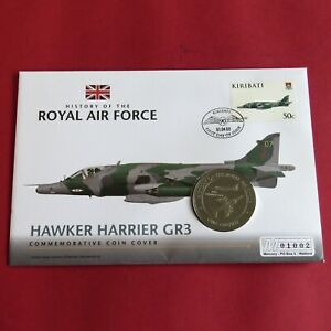 HAWKER HARRIER GR3 2008 GIBRALTAR PROOFLIKE CROWN - royal air force coin cover