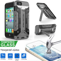Rugged Hybrid Armor Defender Stand&Wallet Case+9H Real Glass iPhone 5/5S/5C/SE