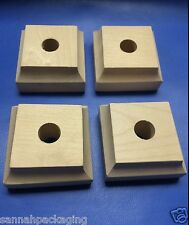 "Lot of 8 New Unfinished Wood Furniture Feet Legs 1"" tall 2"" square"