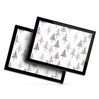 2x Glass Placemats 20x25 cm - Winter Tree Pattern Christmas Forest  #46461