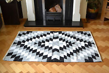 Harlequin Pattern Cotton Rug Rag Black Grey White HandMade Woven 90x150cm 3x5