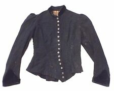 Old VICTORIAN Woman's Black Button Up PINSTRIPE BLOUSE w 16 CHILD DESIGN BUTTONS