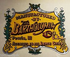 2 The Bartholomew Co. Peoria Ill Logo Label For Vintage Popcorn Nut Machine cart