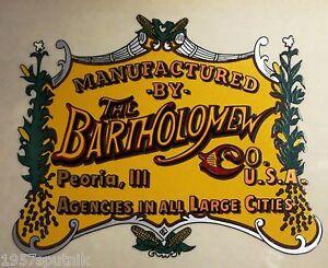 The Bartholomew Co. Peoria Ill Logo Decal For Vintage Popcorn Nut Machine cart