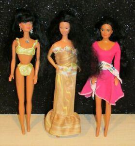 Lot of 3 Barbie Kira Dolls Asian 1980 Mattel Lovely dressed set