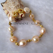 """Pearl Gold Color Bead Bracelet Ac 8"""" 11-13mm Peach Pink Baroque Aa Freshwater"""