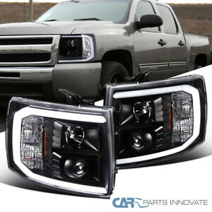 For 07-14 Chevy Silverado 1500 Black Projector Headlights w/ LED Bar Left+Right
