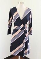 Ann Taylor Womens Navy Blue Peach Striped V-Neck Tie Wrap Dress Size 2