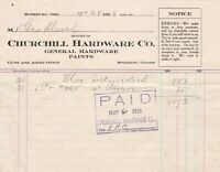 U.S. Churchill Hardware Co. 1913 One Pair Pliers Etc Paid Cancel Invoice Rf42674