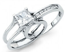 14k Solid White Gold Princess Cut Engagement Ring Bridal Set  Size 4 5 6 7 8 9